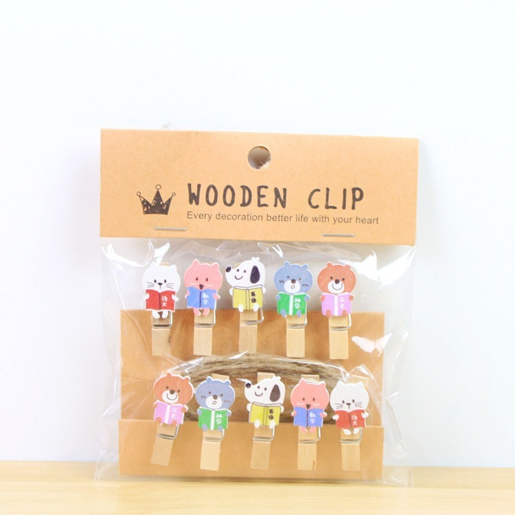 Clips Office Binding Supplies Systematic 10 Pcs/lot Cute Little Bookworm Wooden Clip Photo Paper Clothespin Craft Clips Party Decoration Clip With Hemp Rope