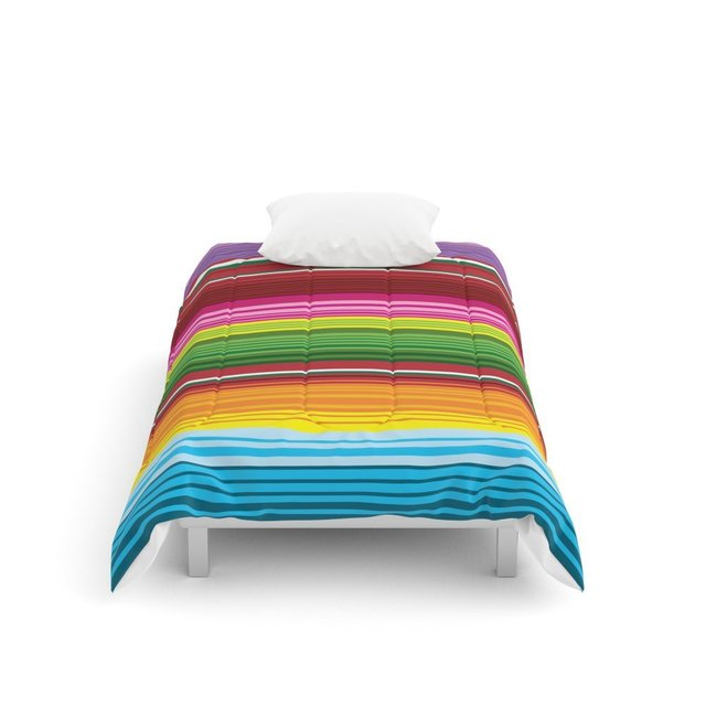 Mexican Blanket Rainbow Striped Comforters Twin  68