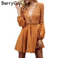 BerryGo Sexy V Neck Backless Suede Lace Dress Women Hollow Out Flare Sleeve Lace Up Winter