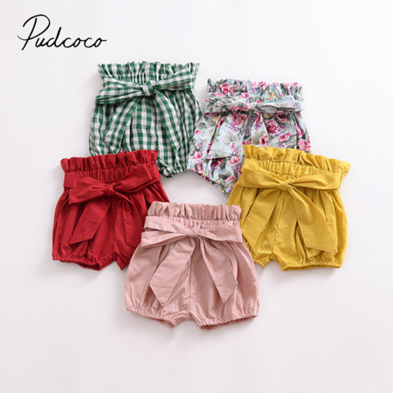 2018 Brand New Toddler Baby Girls Boys Summer Casual Shorts Elastic High Waist Solid Plaid Floral Print PP Pants Outfit 1-6Y