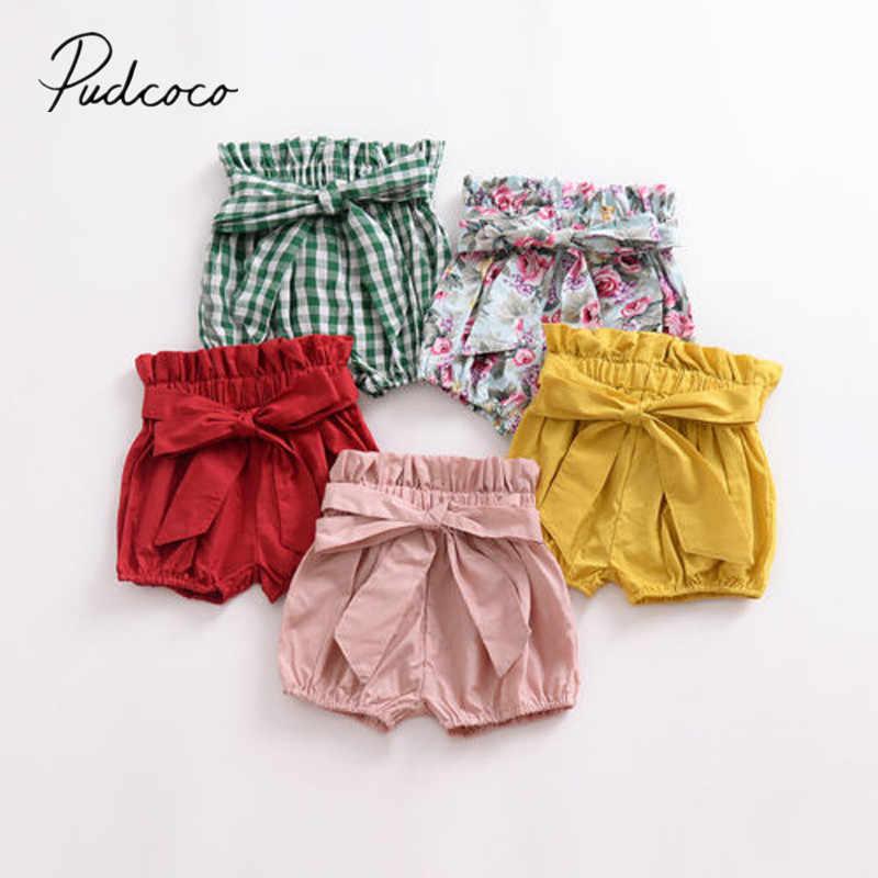2018 Gloednieuwe Peuter Baby Meisjes Jongens Zomer Casual Shorts Elastische Hoge Taille Effen Plaid Bloemenprint PP Broek Outfit 1-6Y