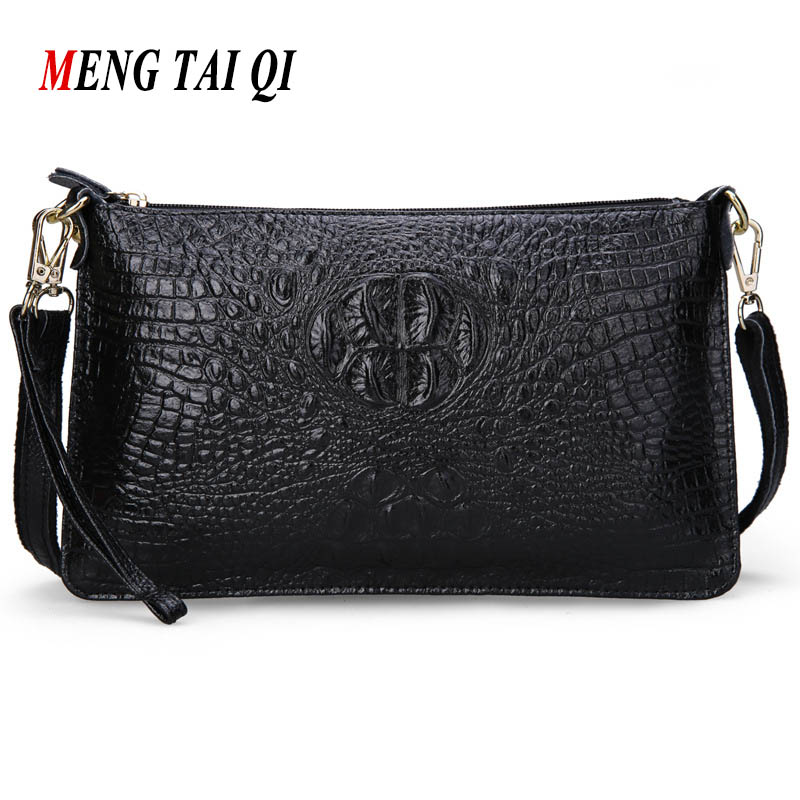 Women Bag Genuine Leather 2017 Crocodile Pattern Handbags Women Messenger Bags Crossbody Female Small Shoulder Bag Clutch Brand freeshipping 2016 genuine leather man small bag vintage clutch bag crocodile pattern leather men messenger bags 7267c