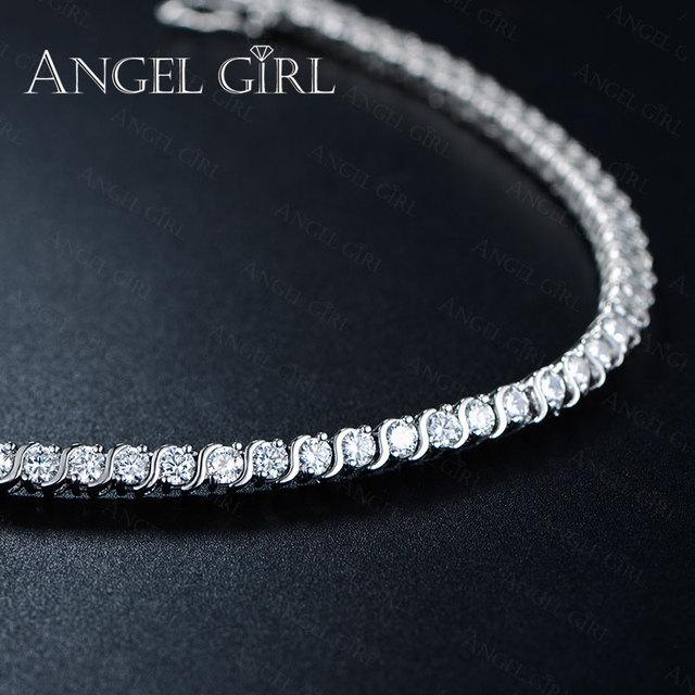 Angel Girl AAA+ Round Cubic Zirconia Tennis Bracelet for woman bracelets&bangles  for women plated bracelet manchette femme 5