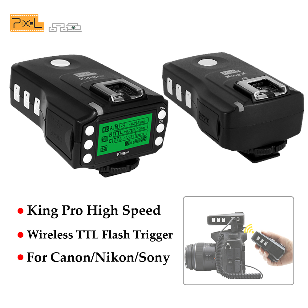 Pixel King Pro Wireless TTL HSS LED Screen Display Flash Trigger Kit Transmitter and Receivers For Canon Nikon Sony DSLR Cameras
