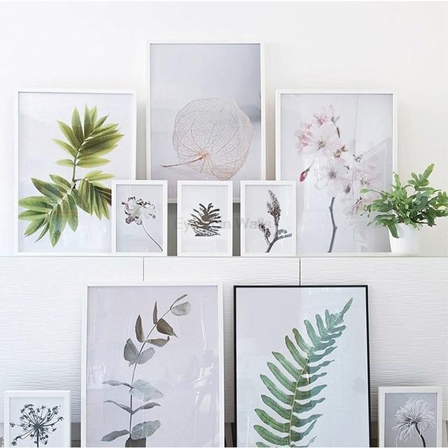 Nordique Feuilles Fleurs Affiche Imprimer Scandinave Toile Peinture ...