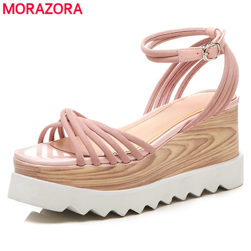 MORAZORA 2018 New genuine leather sandals women shoes fashion wedges platform sandals ladies high heel casual shoes genuine leather women sandals rural sweet style women shoes butterfly beading crystal wedges shoes high heel sandals dress shoes
