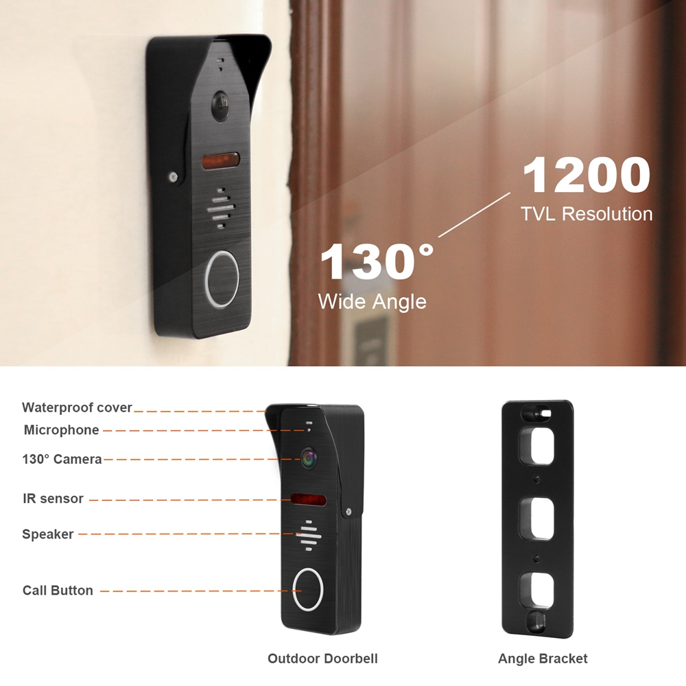 Sonnette d'interphone d'alimentation intégrée de visiophone de 7 pouces avec caméra de vidéosurveillance IR et serrures électroniques prenant en charge le déverrouillage à distance - 4