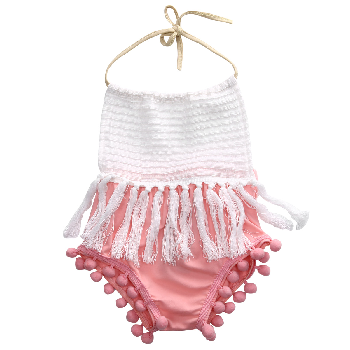 Fashion 2018 Newborn Toddler Baby Girls Patchwork Halter Tassels Strap   Romper   Jumpsuit Outfit Clothes