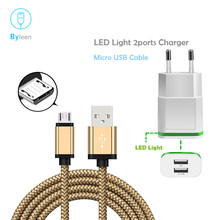 Byleen Gold 1m Long Micro USB Charging Line For Huawei Honor 7x 7c 7A Pro 6X P8 G9 Mate 8/10 Cabel LED Light Charger Adapter(China)