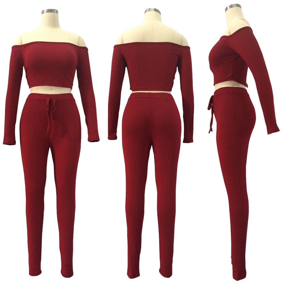 Solid Slash Neck Long Sleeve Two Piece Set Drawstring Off Shoulder Women Tracksuit Bodycon Long Pants Women Suits