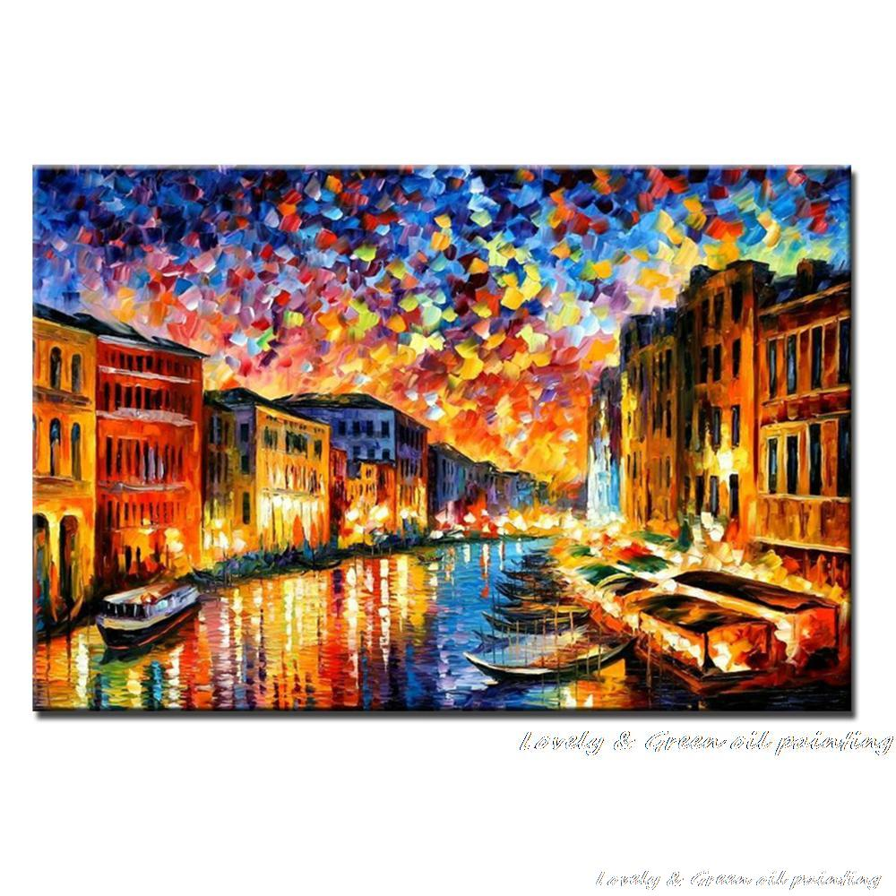 100% Handpainted Abstract City <font><b>Boats</b></font> Palette <font><b>Knife</b></font> Thick Oil Painting On Canvas Wall Picture For Home Decorat As Best Gift image