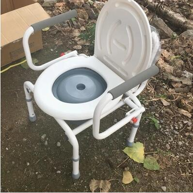 Reinforce adjustable old man sitting stool mobile Welded steel pipe toilet chair With a toilet