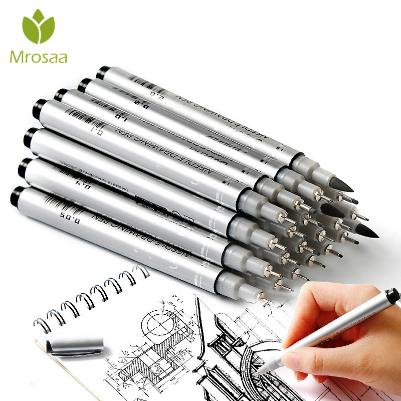 10 Tip Sizes Micron Neelde Drawing Pen Waterproof Pigment Fine Line Sketch Markers Pen For Writing Hand-Paint anime Art Supplies алмазный брусок двусторонний extra fine fine hardcoat™ 1200 mesh 9 micron 600 mesh 25 micron dmt w8ef h wb