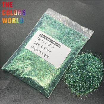TCR16 opalizujący Rainbow ciemnozielony kolor sześciokąt kształt brokat zdobienie paznokci dekoracje ciała brokat cień do powiek Henna Handwork DIY tanie i dobre opinie Bincon 50g 200g 500g Paznokci brokat 1 Bag Glitter Sequins Hexagon Iridescent Rainbow Dark Green Color 7 Kinds Size Plastic Bags