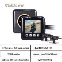 VSYSTO P6F Wi Fi мотоцикл регистраторы двойной 170 градусов FULL HD видео DVR Поддержка Автомобильный gps регистратор черный Мини Автомобиль регистратор