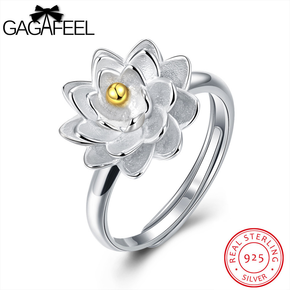 GAGAFEEL Lotus Flowers Ring 925 Sterling Silver Finger Accessory Women Jewelry Romantic  ...