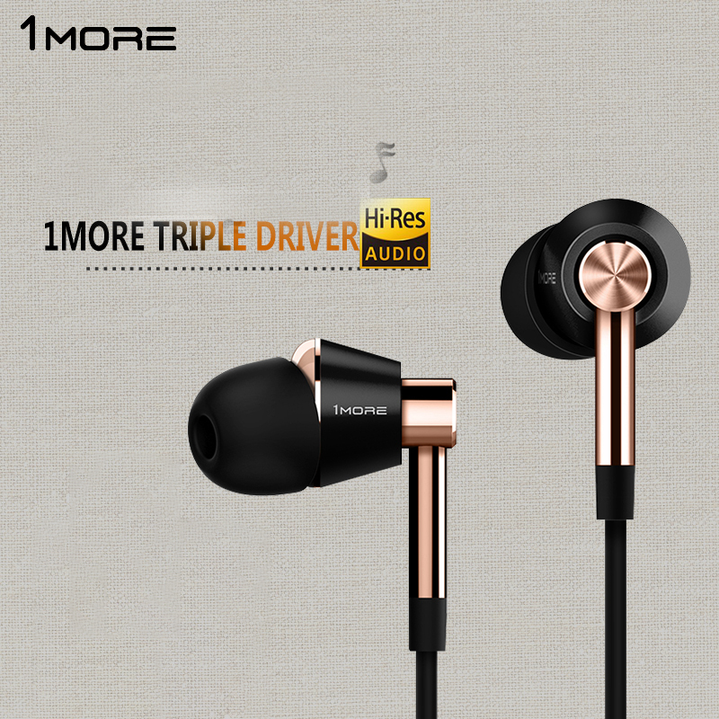 цена на Original 1More Triple Driver In-Ear Earphone with microphone for Xiaomi Mi Redmi Samsung Mp3 Earphones Earbuds Earpiece E1001
