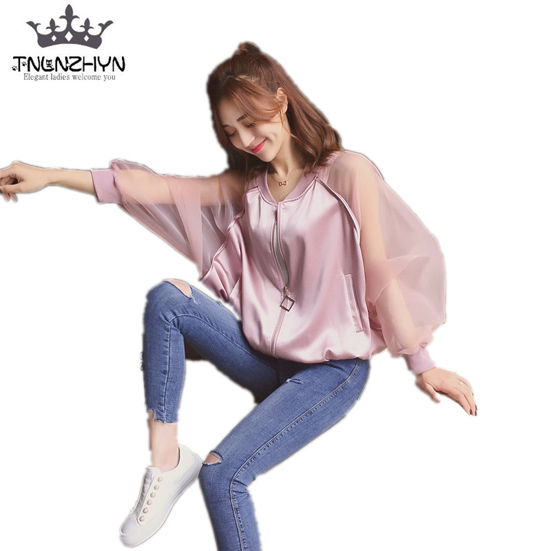 TNLNZHYN 2019 Spring Summer Womens   Jacket   Stitching Long Sleeve Zipper Sunscreen   Basic     Jacket   Coat Casual Baseball Outwear Y161