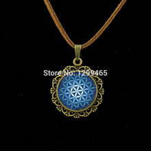 Blue Flower of Life Necklace Yoga Chakra Mandala Leather Necklace Fashion Glass Dome pendant Sacred Geometry Jewelry L 204
