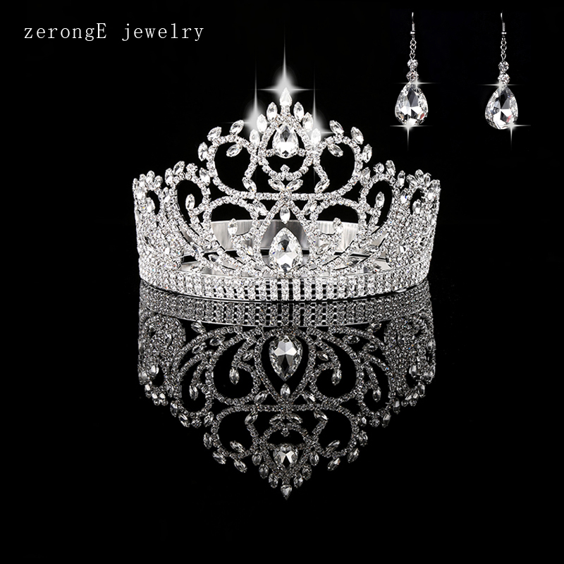 zerongE jewelry Vintage Style Pageant Beauty Contest Tall 4 5 heart Tiara Full Circle Round Crystal