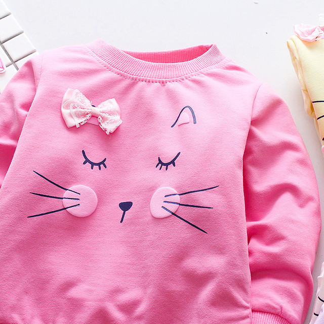 Long Sleeved Cat Printed Cotton T-Shirt