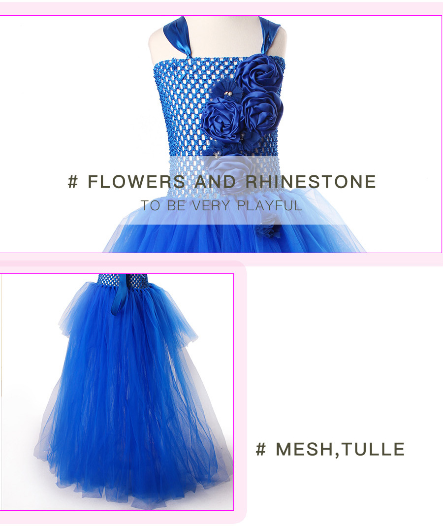 Royal Blue Flowers Girls Tutu Dress High Low Ice Princess Tulle Dress for Wedding Pageant Party Handmade Baby Photo Costume (3)