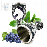 3D Unicorn Shaped Goblet Resin Stainless Steel Red Wine Cup Glasses Glass Steins Halloween Party Drinking