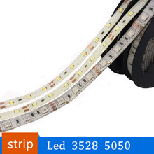 Led Strip Light 3528 5050 12V 5M Flexible Home Decoration Lighting Waterproof LED Tape RGB/White/Warm White/Blue/Green/Red(China)