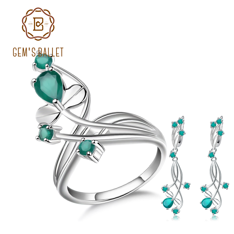 GEM S BALLET Natural Green Agate Gemstone Vintage Jewelry Sets 925 Sterling Silver Earrings Ring Set