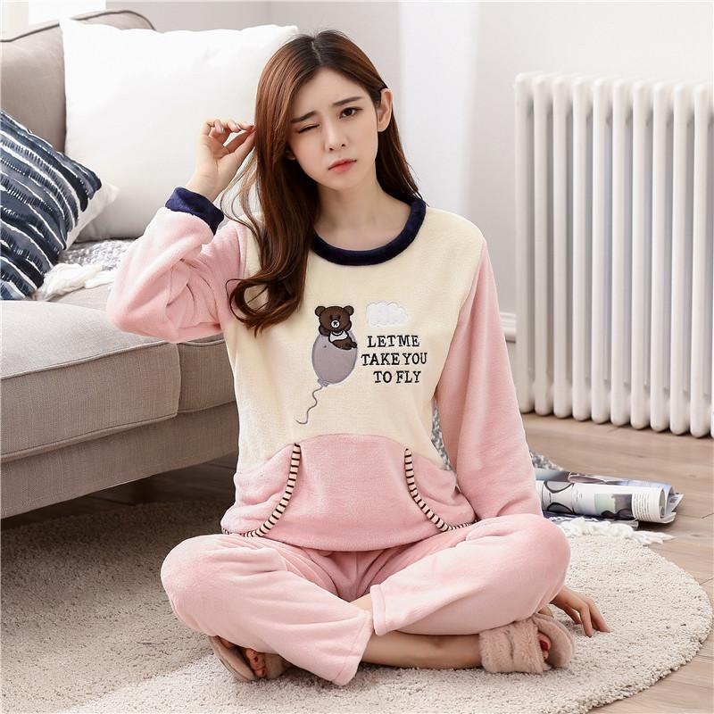 4ab183d9b SusanDick 2017 New Winter Pajamas Women Thick Flannel Fleece ...