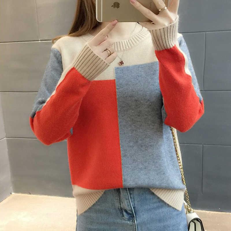 Tigena Comfortabele Zachte Trui Vrouwen Jumper 2019 Herfst Winter Koreaanse Contrast Kleur Gebreide Trui Vrouwelijke Pull Femme