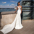 Vestido de noiva Cheap Sheer Beach Wedding Dress 2017 New Arrival Removable Train Wedding Gowns Robe de mariage CYF47