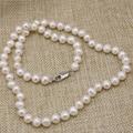 Fiesta de bodas regalos natural cultivadas de agua dulce blanco collar de perlas 7-8mm nearround perlas cadena de joyería de las mujeres 18 pulgadas B3225