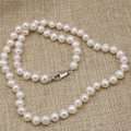 Party weddings gifts natural white freshwater cultured pearl necklace 7-8mm nearround beads chain for women jewelry 18inch B3225
