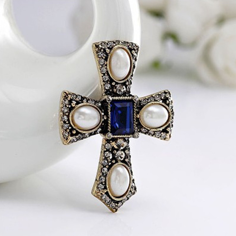 Hot Fashion simulated Pearl Rhinestone Cross Brooch jewelry Vintage Blue gem luxury brooches for women Accessories