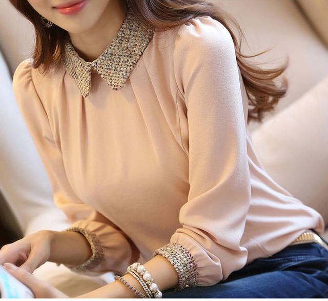 vetement femme Blusas Women Blouses clothes 2016 chiffon tops Office pink Shirt hauts femme ete moda mujer camisas femenina A99