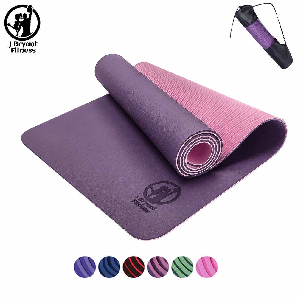3 in 1 TPE Yoga Mat 6mm Environmental Tasteless Colchonete Fitness Gymnastics Mat Gym Exercise Mat with Yoga Mat Bag 183*61*0.6 gymnastics exercise workout flooring gym mat 2 4mx1 2mx3cm