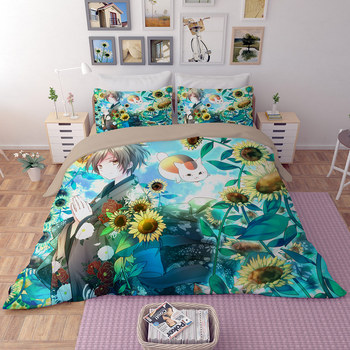 3D japan anime bedding sets sunflower and boy pattern quilt cover sets good quality blue bedclothes AU Single Double Queen King