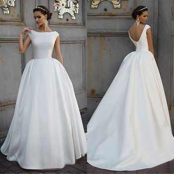 White Simple Boat Neck Wedding Dress Ball Gowns Satin Open Back Bridal Dress Custom Made Cheap Dress 2019 - Category 🛒 Weddings & Events