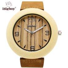 IBigboy Luz Reloj De Madera Natural Zebrawood 12 horas Analógico Correa de Cuero Del Cuarzo de Japón de Pulsera IB-1605Ka