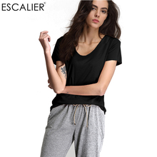 ESCALIER Summer Casual Women T-Shirt Loose Solid Spandex V-Neck Rolling Short Sleeve Super Elastic lady Tees Tops