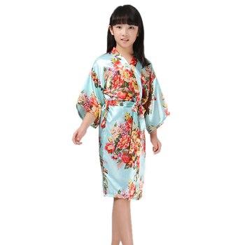 2-14Y New kids robes kimono bathrobes for girls child satin silk night gown purple flower sleepwear bridesmaid party robe 8color