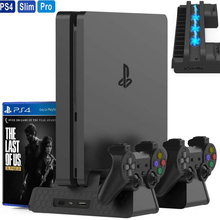 For PlayStation 4 Dualshock 4 PS4 Slim/PS4 Pro/PS4 Vertical Stand Dual Controller Charger 3 Cooling Fan Games Storage Tower Cool