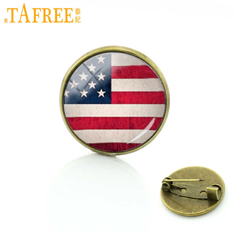 TAFREE American flag brooch Country logo art USA British Irish South African flag pins men women Vintage national symbolic t234