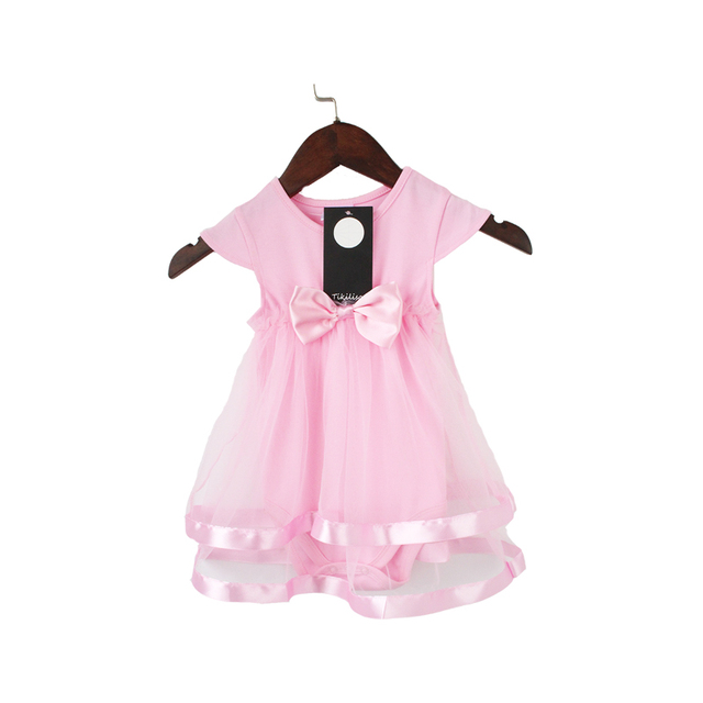 4cf7351f6 Tikilisa NewBorn Baby Dress Summer Cotton Bow tie Baby Rompers Baby ...