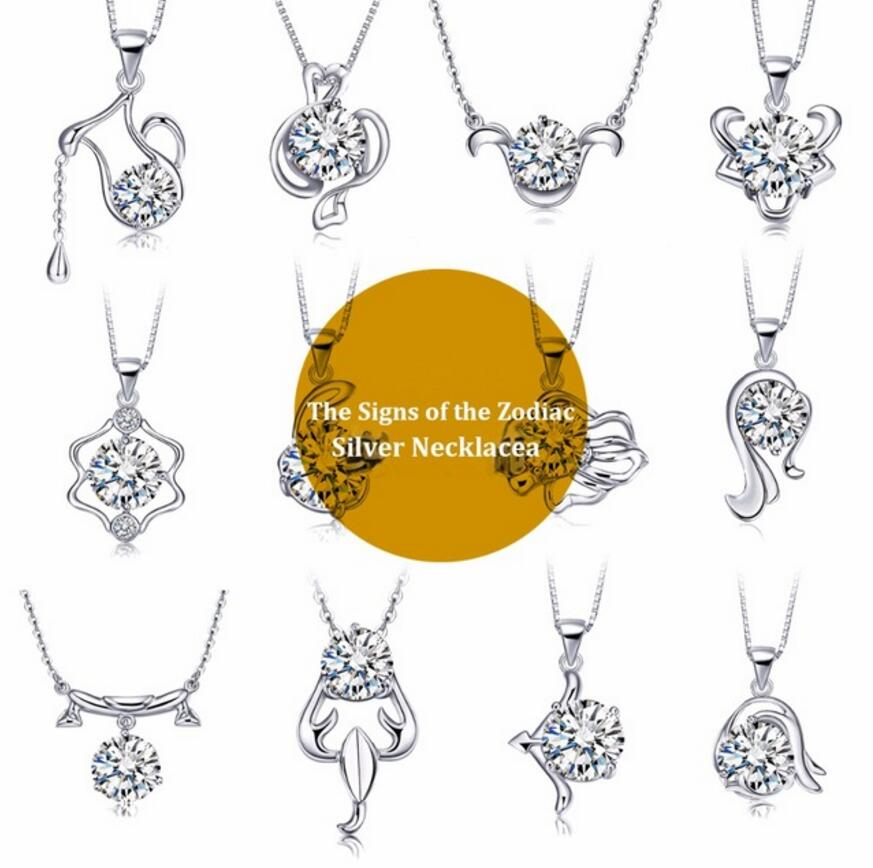 Hot Sales 925 Genuine Silver Color The Signs of the Zodiac Pendant Necklace with Movable AAAAA Zircon Rhodium Plated Necklaces