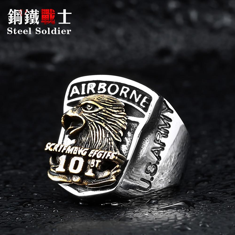 stål soldat 316l rustfritt stål menn amerikansk den luftbårne skrik ørne ring personlighet punk smykker som gave til bf
