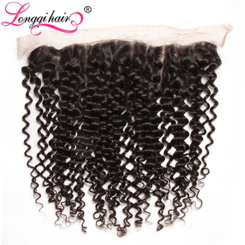 Longqi Hair Ear to Ear 13x4 Cambodian Curly Lace Frontal Closure Pre Plucked Remy Hair100 Human