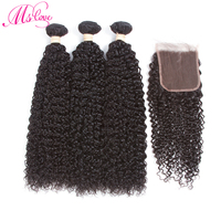MsLove Pre Colored Mongolian Non Remy Human Hair Bundles With Closure Natural Color Kinky Curly 3