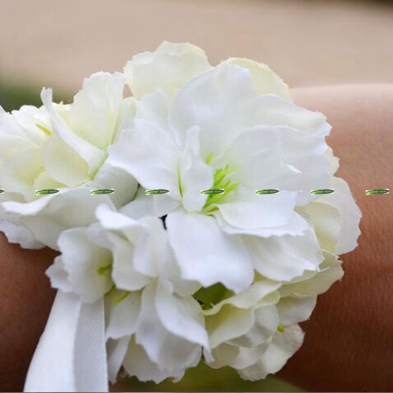 Silk artificial cherry blossom boutonniere wedding decor bride wrist silk artificial cherry blossom boutonniere wedding decor bride wrist corsage flower white pink fl5294 in artificial dried flowers from home garden on mightylinksfo